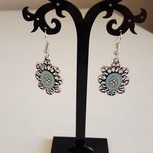 🆕Blue Enamel & Silver Earrings